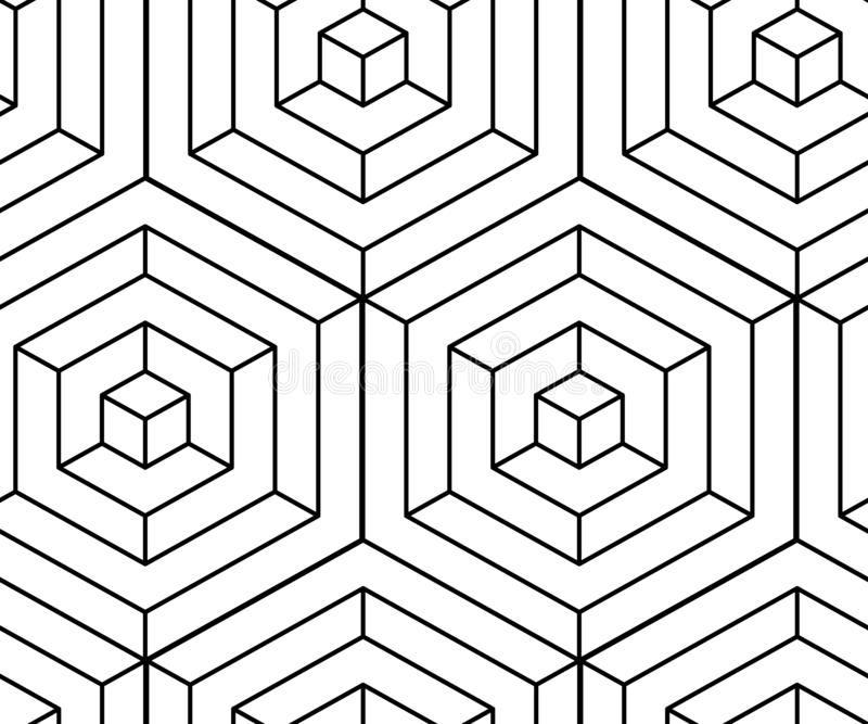 Seamless isometric pattern. Monochrome black lines optical illusion. Vector illustration vector illustration