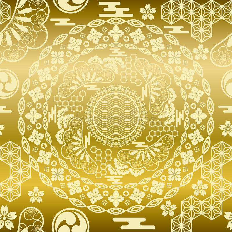 Download Seamless Japanese Modern Gold Background Stock Vector - Image: 15431335