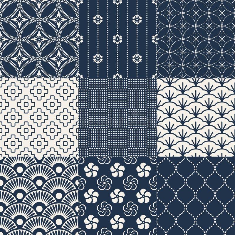 Seamless japanese pattern set stock illustration