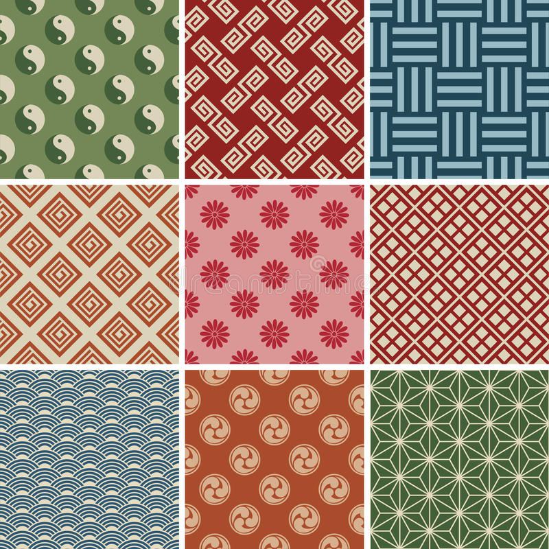Seamless Japanese Traditional Red Pattern Set royalty free illustration