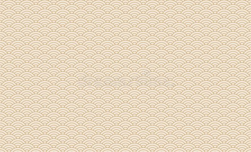 Seamless japanese wave pattern. Repeating ocean water curve chinese texture. Gold and white line art vector illustration. Vintage. Geometric shape background stock illustration