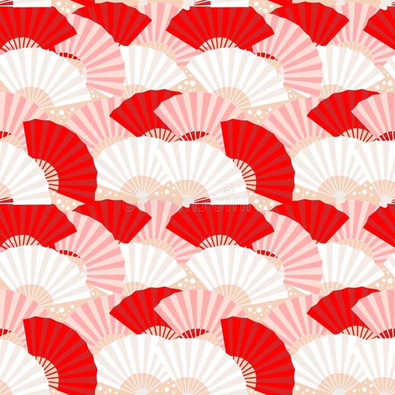seamless japansk modell för färgrik ventilator vektor illustrationer