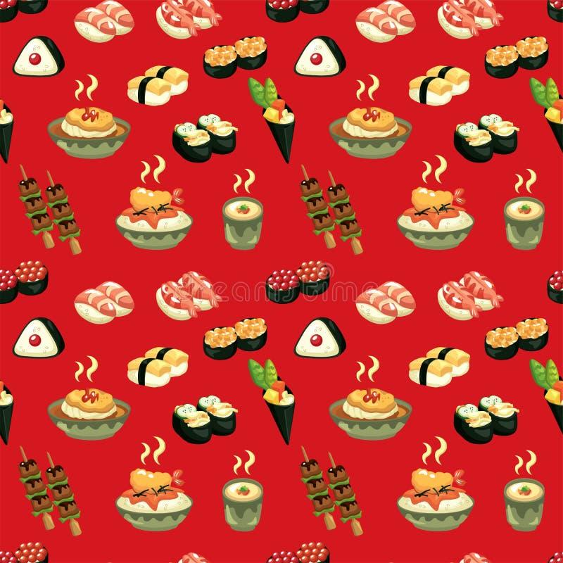 seamless japansk modell för mat vektor illustrationer