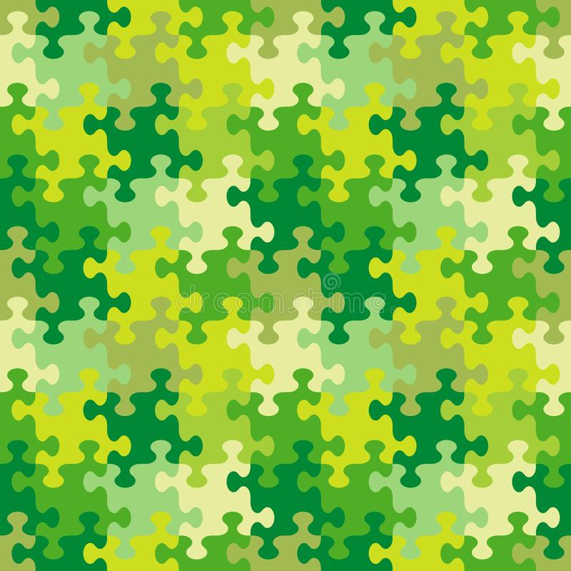 Seamless jigsaw puzzle pattern of spring, summer or camouflage colors vector illustration
