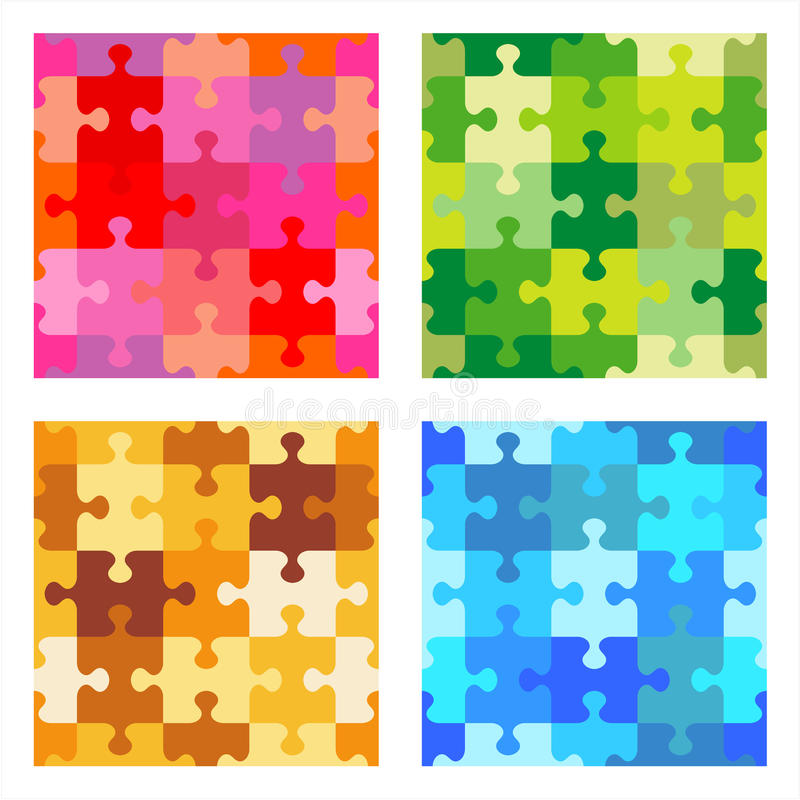 Seamless jigsaw puzzle patterns vector illustration