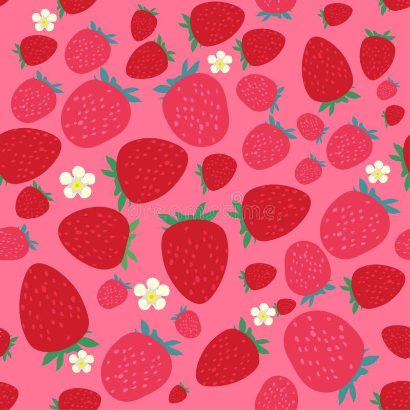 seamless jordgubbar för modell vektor illustrationer