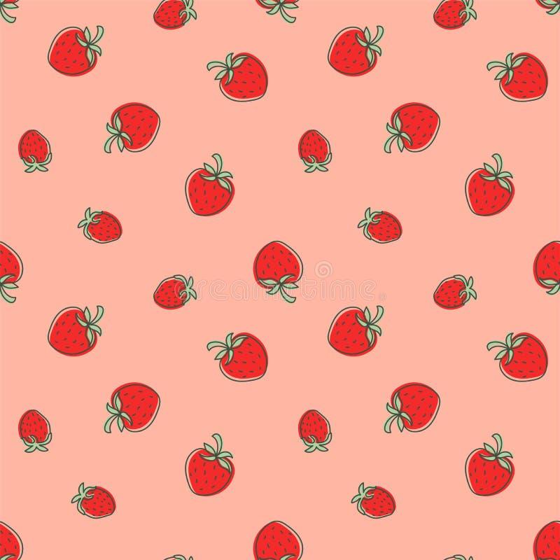 seamless jordgubbe f?r modell Saftigt r?tt b?r Handen drog f?rgvektorn skissar bakgrund Modetextildesign Klottersommar stock illustrationer
