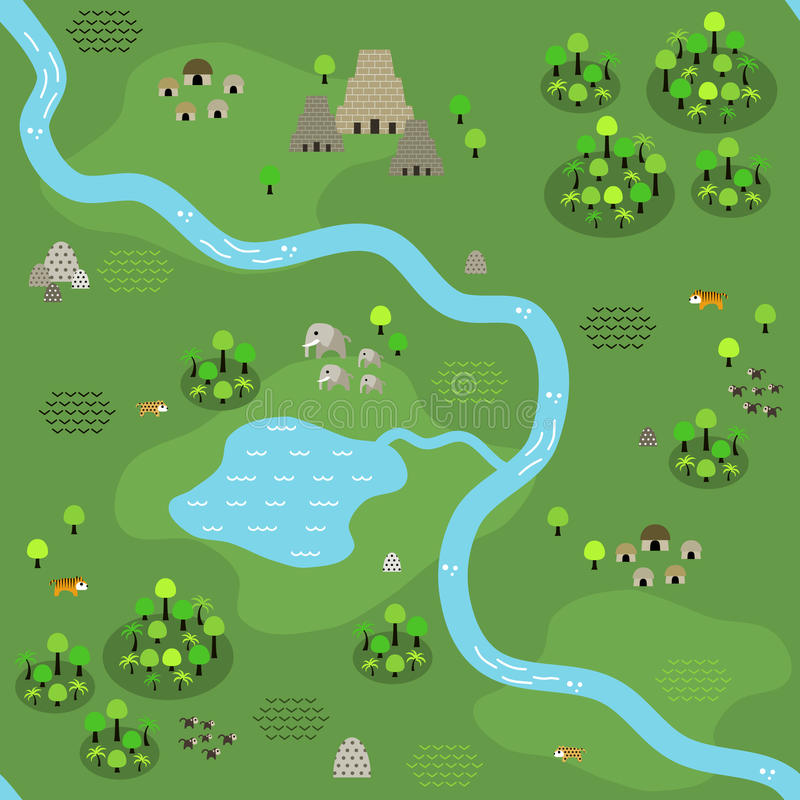 Seamless jungle map in flat style stock illustration