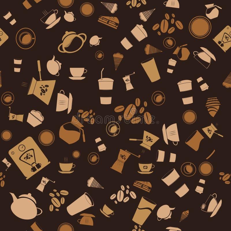 seamless kaffe bakgrundsmodellsymbol royaltyfri illustrationer