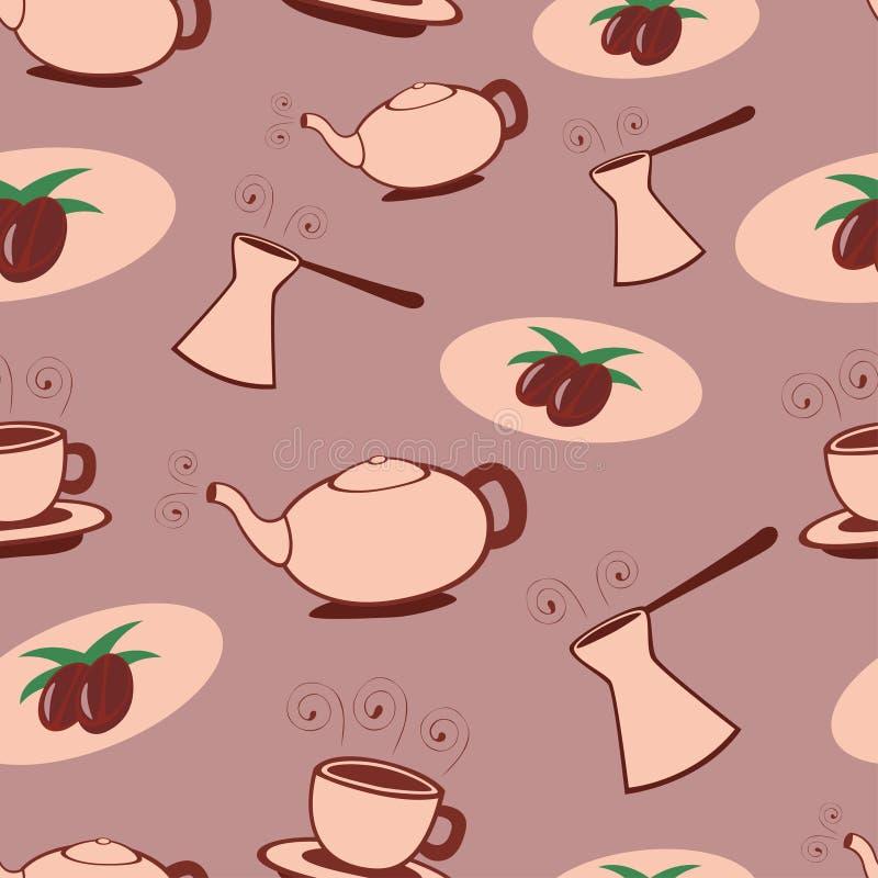 seamless kaffemodell royaltyfri illustrationer