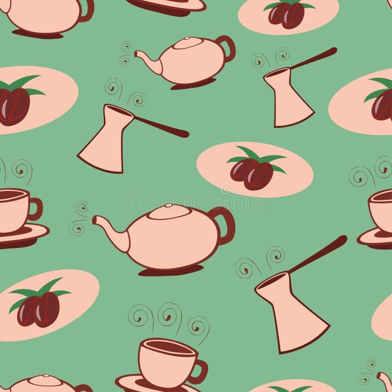 seamless kaffemodell vektor illustrationer