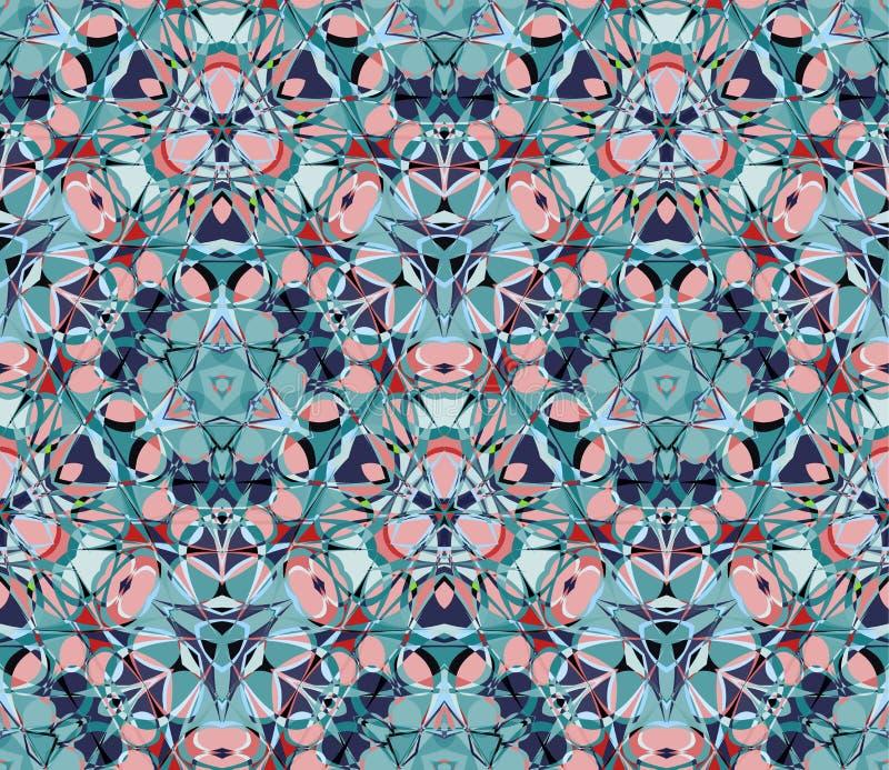 seamless kaleidoscopemodell Komponerat av färgabstrakt begreppformer stock illustrationer