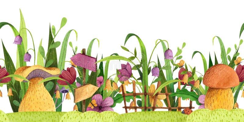seamless kant Champinjoner med gräs, blommor, fjäril, staket, vägvisare royaltyfri illustrationer