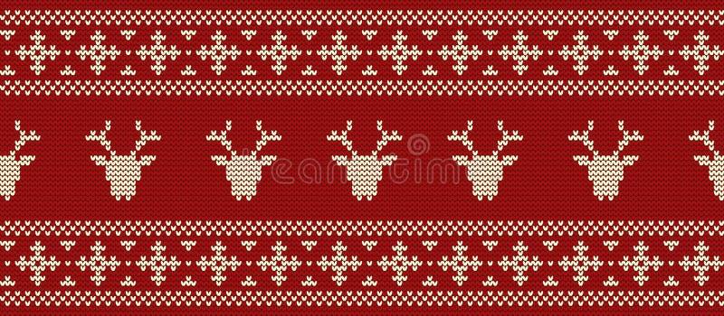 seamless kant Den stack modellen med hjort` s heads på en röd bakgrund vektor illustrationer