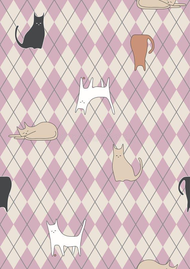 seamless kattkontrollmodell vektor illustrationer