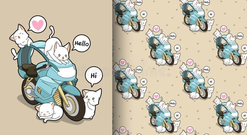 Seamless kawaii cats and blue motorcycle pattern royalty free illustration