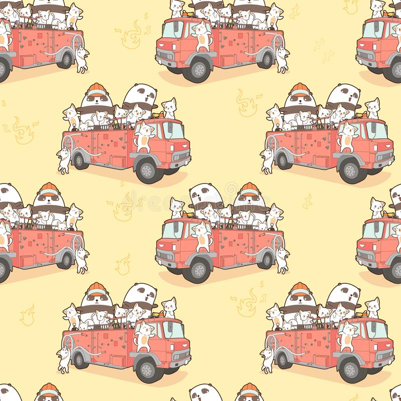 Seamless kawaii cats and panda fire fighter on fire truck pattern stock illustration