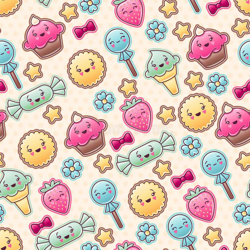 Seamless kawaii child pattern with cute doodles royalty free illustration
