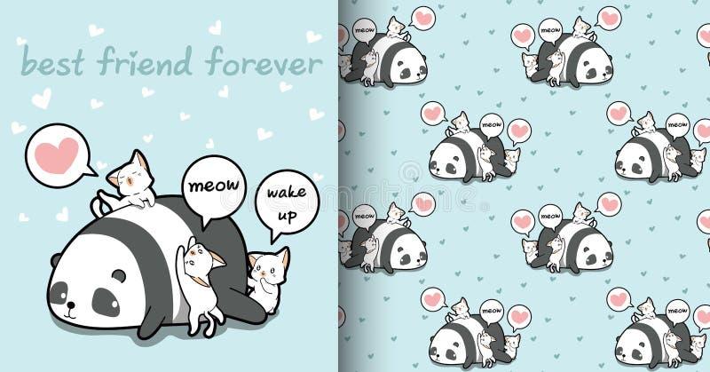 Seamless kawaii panda and cat characters pattern vector illustration