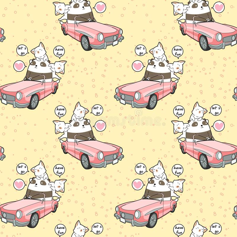 Seamless kawaii panda is driving a pink car with 2 cats pattern stock illustration