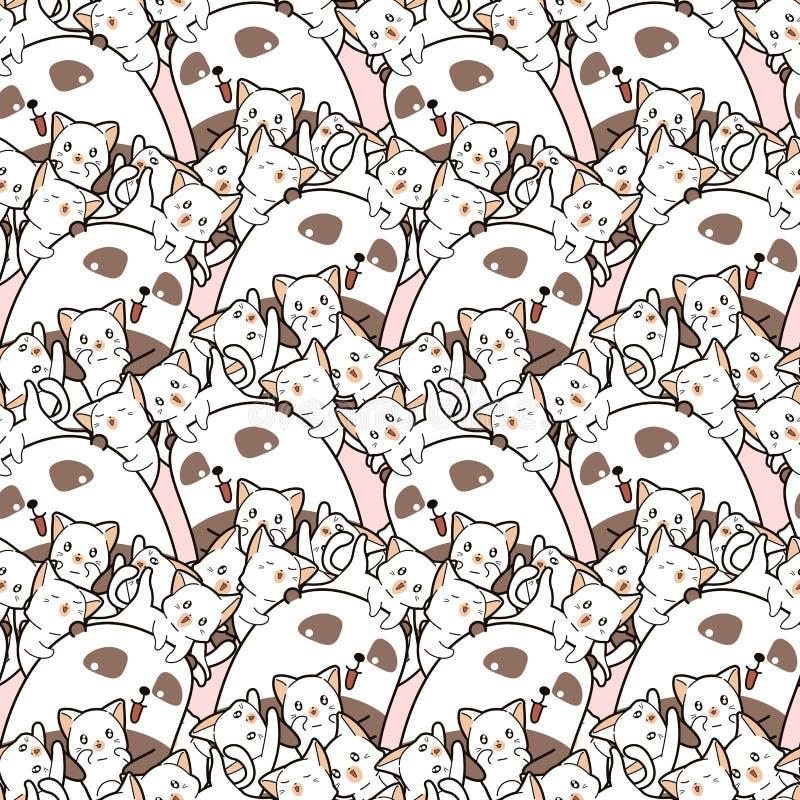 Seamless kawaii panda and friends pattern in cartoon style royalty free illustration