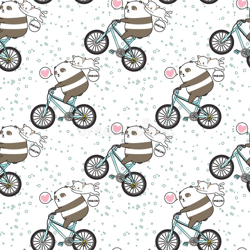 Seamless kawaii panda is riding a bicycle with a cat pattern royalty free illustration