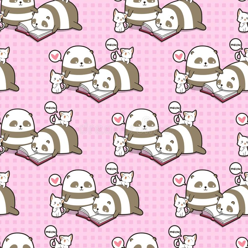 Seamless kawaii pandas and cats are reading a book pattern vector illustration