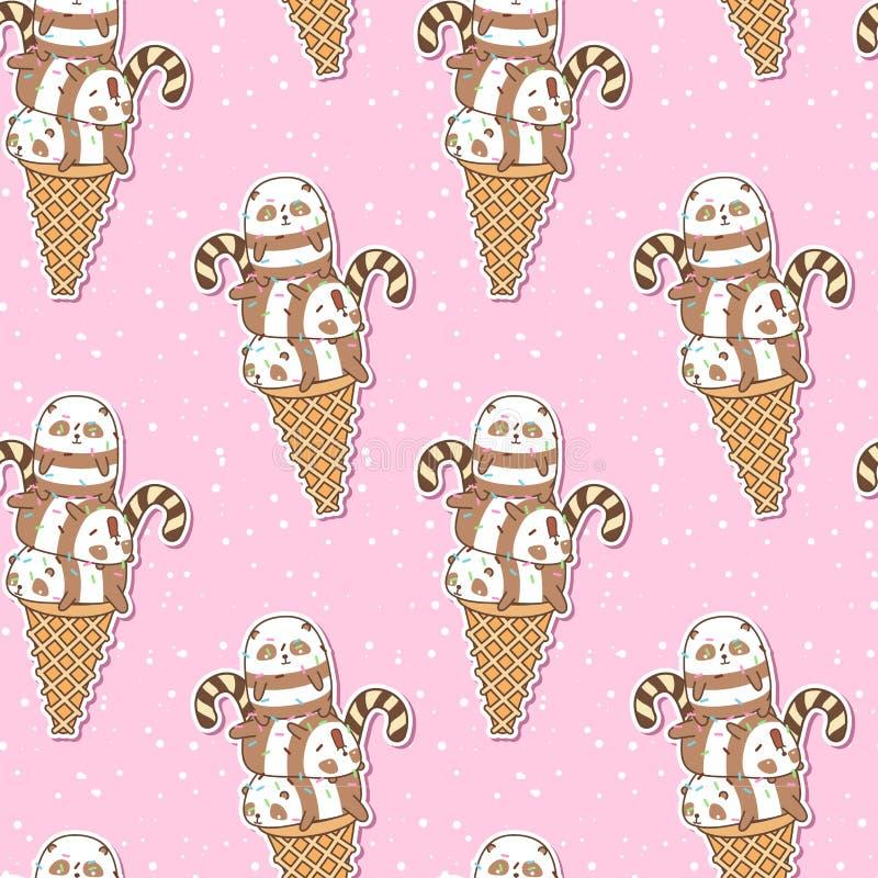 Seamless kawaii pandas on ice cream cone pattern stock illustration