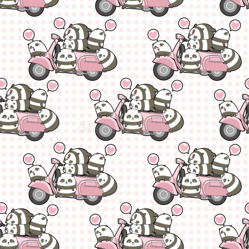 Seamless kawaii pandas and pink motorcycle pattern stock illustration