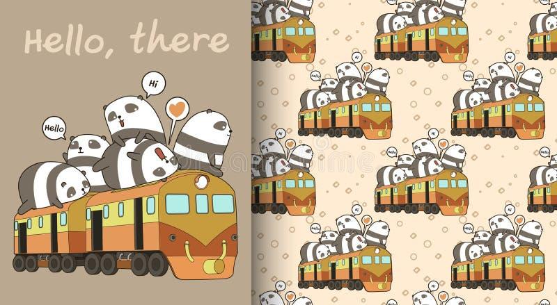 Seamless kawaii pandas on the train pattern stock illustration