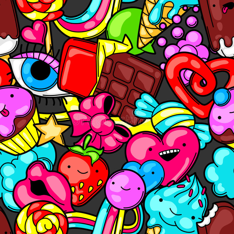 Free Seamless Kawaii Pattern With Sweets And Candies. Crazy Sweet-stuff In Cartoon Style Stock Photos - 79734533