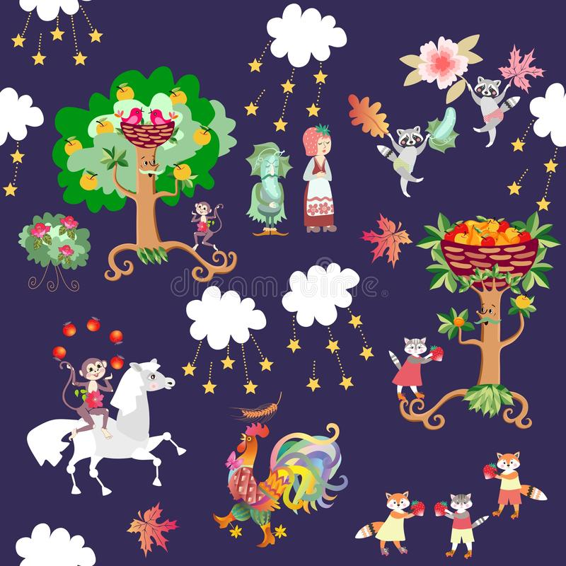 Seamless kid pattern with cute cartoon animals and plants - horse, monkey, rooster, raccoons, cats, foxes, strawberry, cucumber royalty free stock images