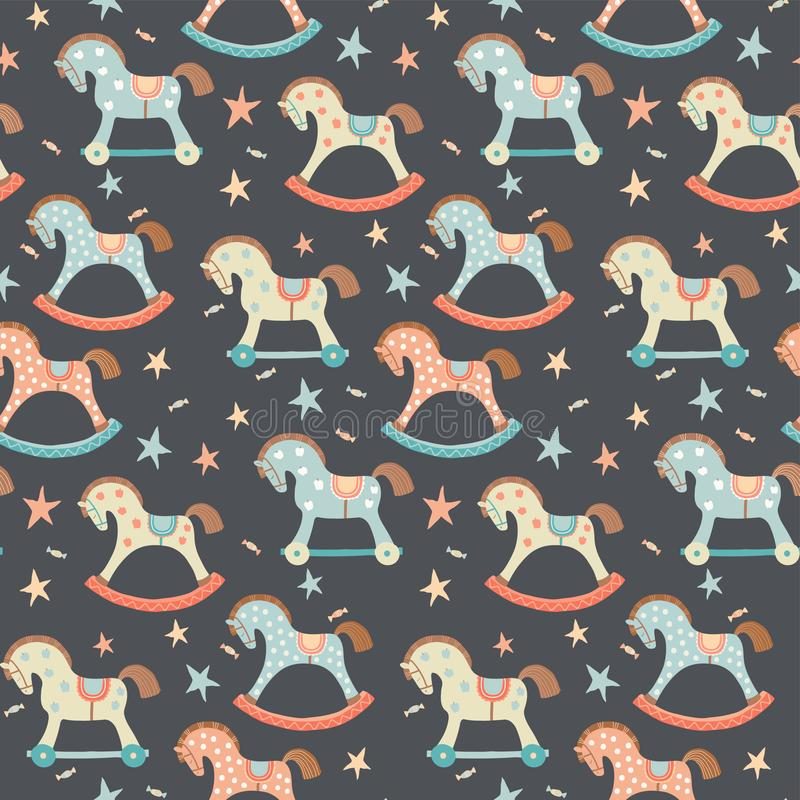 Seamless kids, baby rocking horse seamless pattern. First toys. Vector eps 10 illustration on dark. Cloth, wallpaper. Wrapping, fabric, print , surface, baby stock illustration