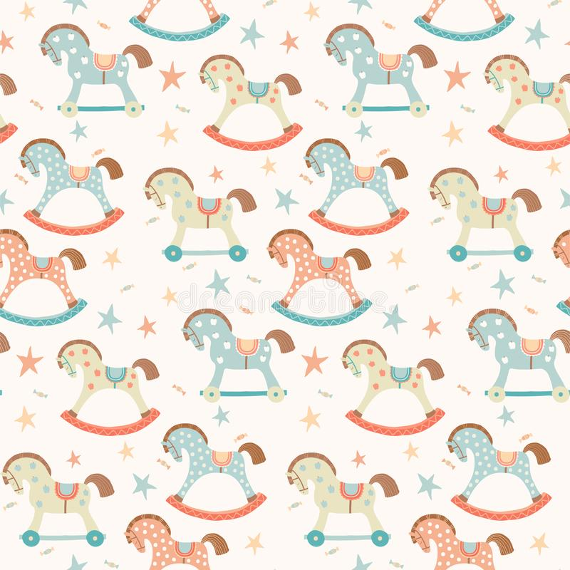 Seamless kids, baby rocking horse seamless pattern. First toys. Vector eps 10 illustration on white. Cloth, wallpaper. Wrapping, fabric, print , surface, baby vector illustration