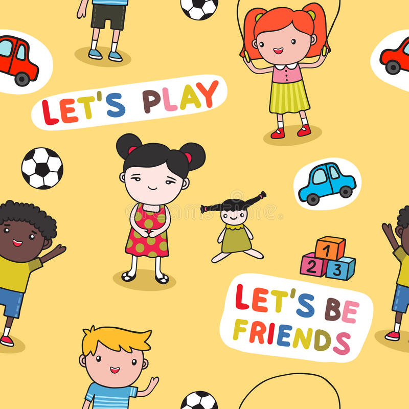 Download Seamless kids background stock vector. Image of people - 35088509