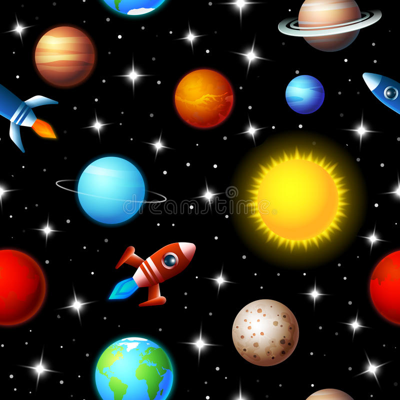 Seamless kids design of rockets and planets vector illustration