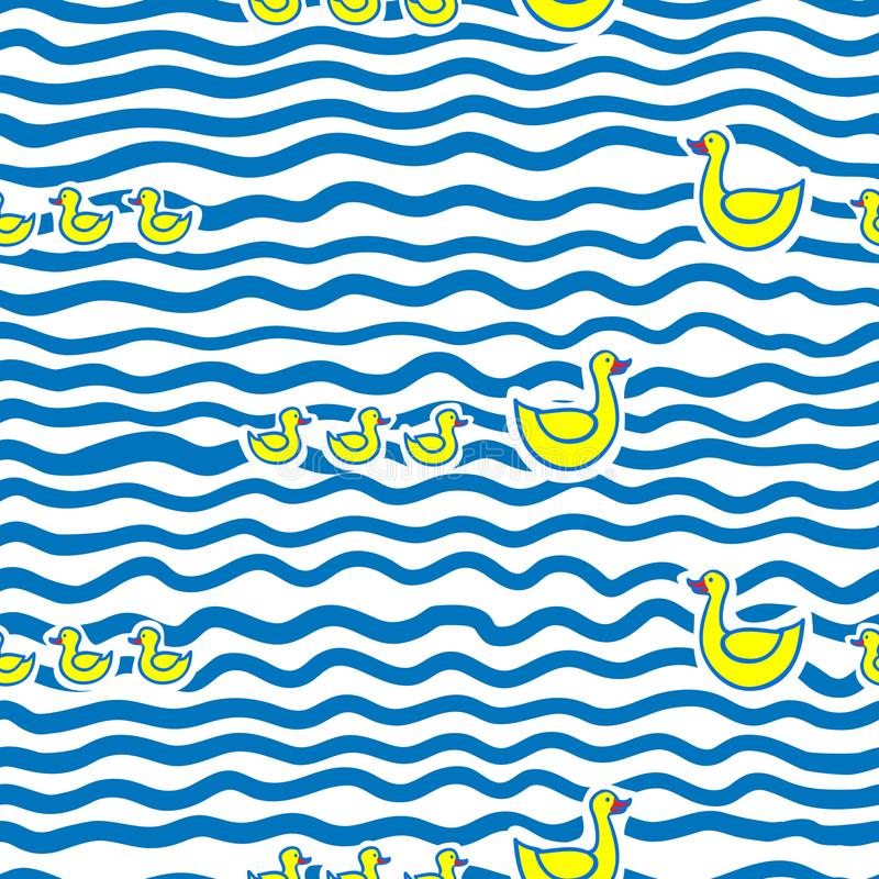 Seamless kids pattern with funny cartoon swimming mother duck and ducklings in water. Vector background stock illustration