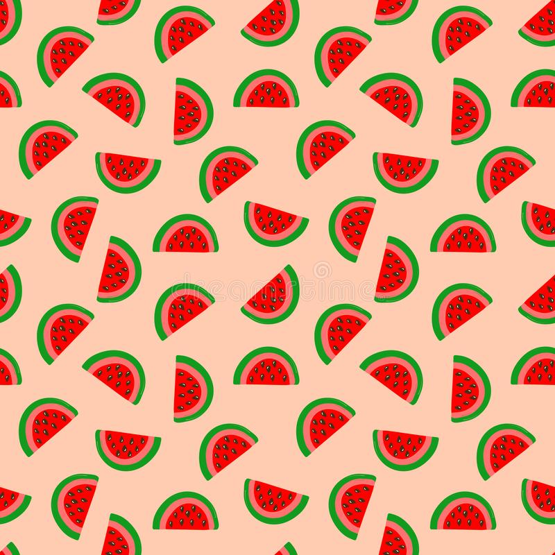 Seamless kids style summer pattern with hand drawn watermelon wedges with seeds on peachy pink background. Fabric textile stock illustration