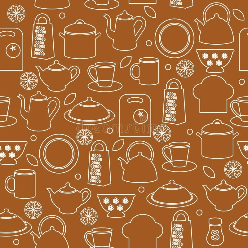 Seamless kitchen background royalty free illustration