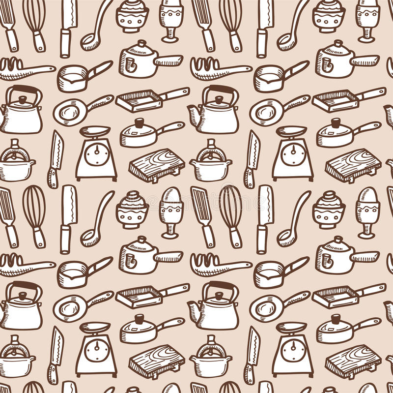 Free Seamless Kitchen Pattern Royalty Free Stock Photo - 17260955