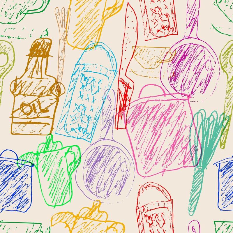 Seamless kitchen utensils scribble pattern,seamless background,grungy  royalty free stock photo