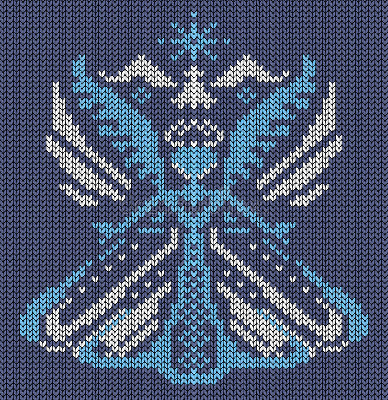 Seamless knitted background - magic bird butterfly. Jacquard pattern. Vector illustration vector illustration
