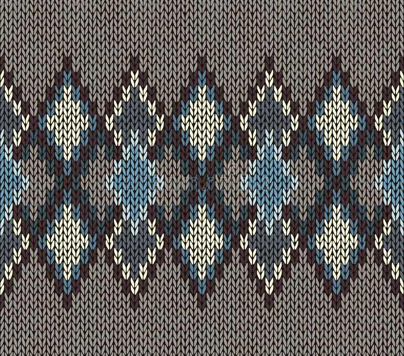 Seamless Knitted Pattern. Blue White Brown Color. Fashionable youth modern style stock illustration