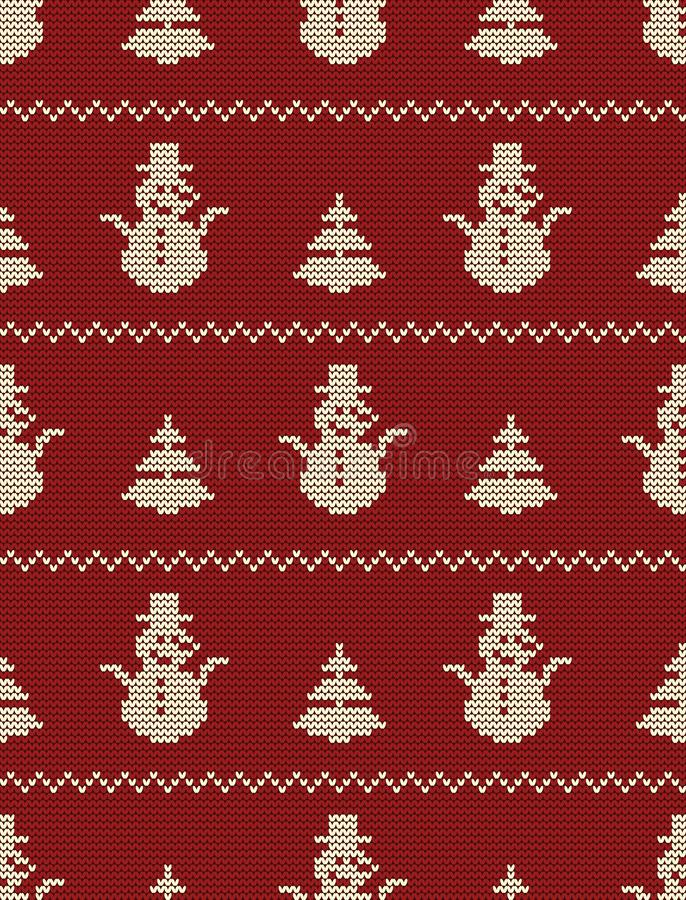 Seamless knitted pattern with Christmas trees and snowmen on a red background vector illustration