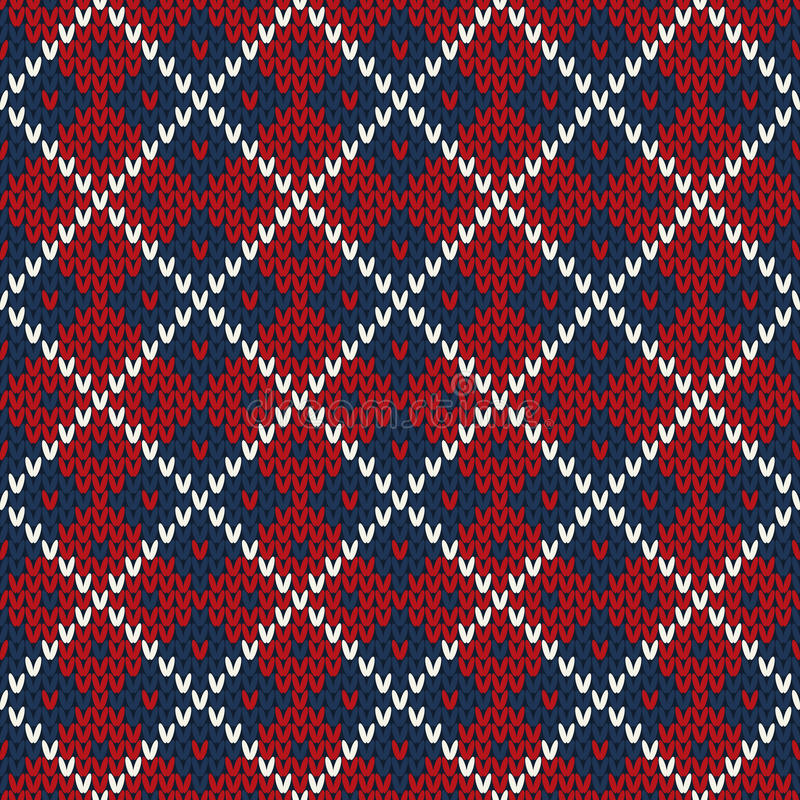 Seamless knitted pattern. EPS available stock illustration