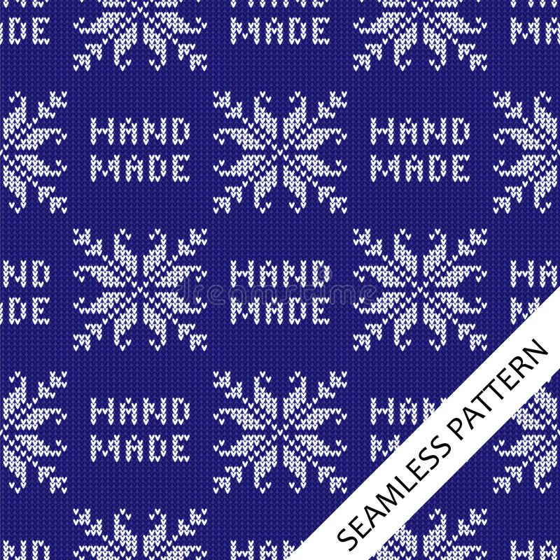 Seamless knitted pattern with floral pattern and handmade text. stock illustration