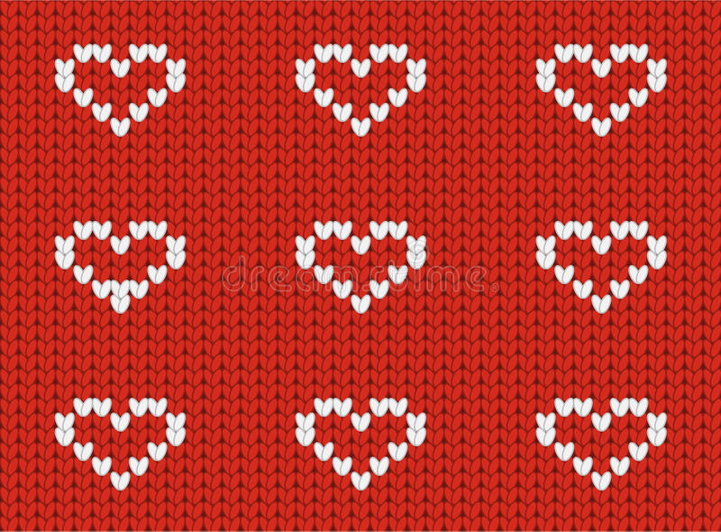 Seamless knitted pattern with hearts. Seamless knitted pattern with loving hearts royalty free illustration