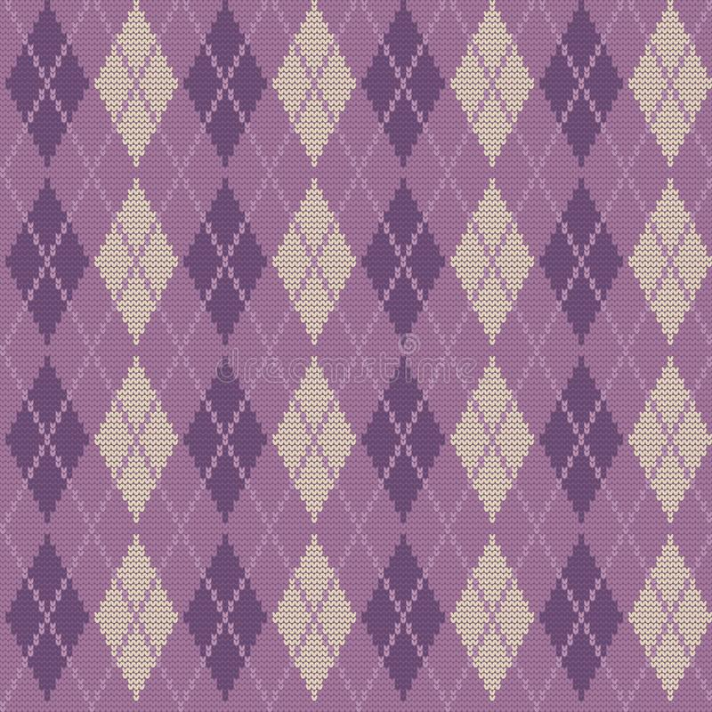 Argyle print in purple colors. Seamless knitted pattern with rhombuses. Argyle print in purple colors. Checkered background. Vector illustration vector illustration
