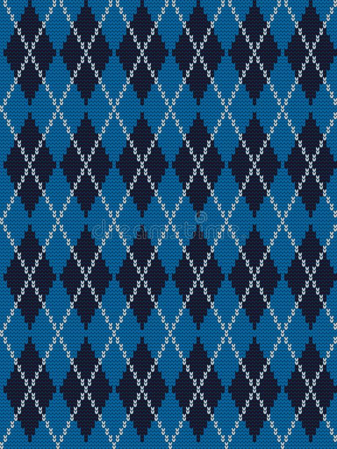Seamless knitted pattern with rhombuses in blue, black and white colors royalty free illustration