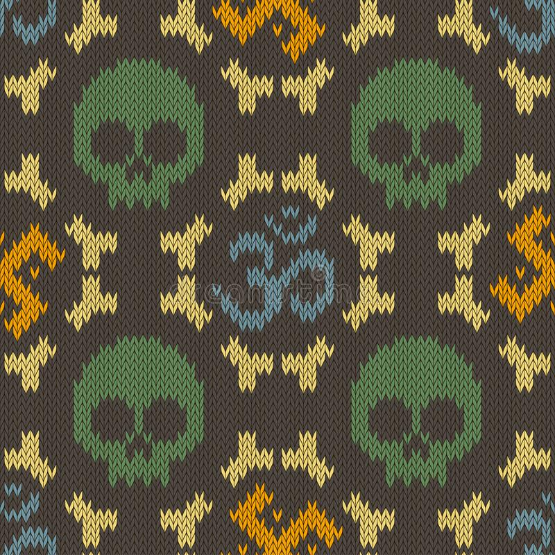 Seamless knitted pattern with sacred Hinduism symbols. Sacred syllable, symbol or mantra Om. Swastika, skull and bones stock illustration